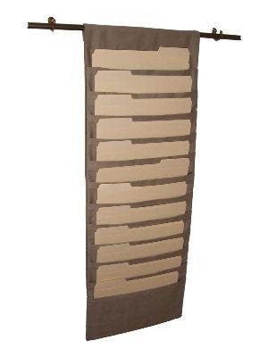 12 Pocket Hanging Wall File Organizer Light Tan