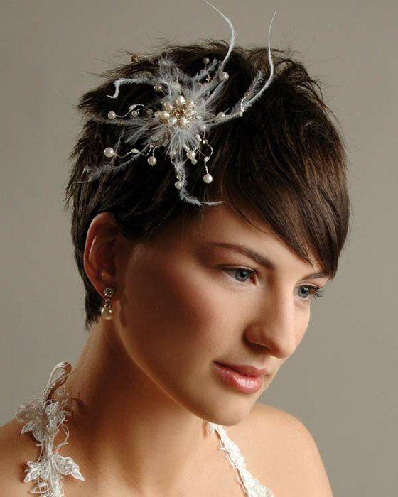 brautfrisuren kurze haare haarschmuck