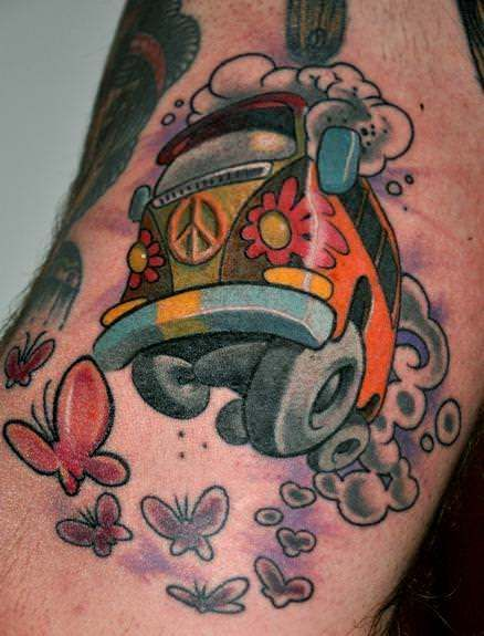A cute car tattoo of a VW (volkswagen) hippy van from the 1960s