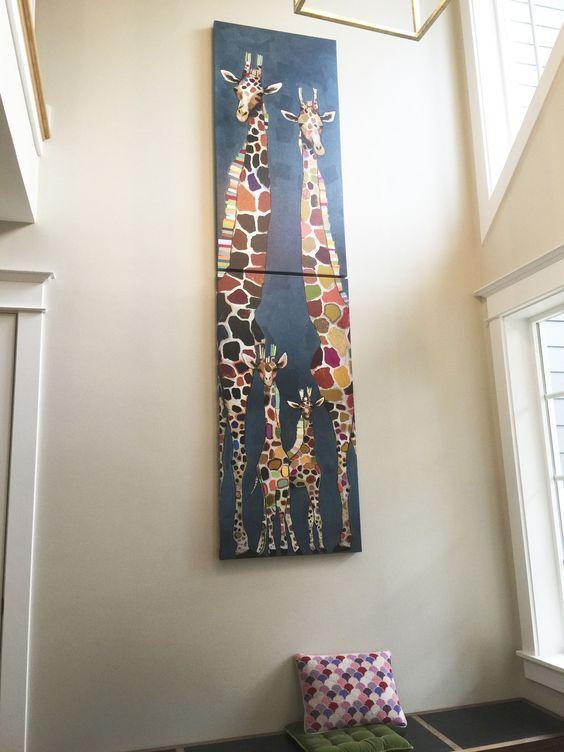 Giraffe Family of Four Diptych by Eli Halpin - Canvas Reproduction – Eli Halpin Oil Paintings