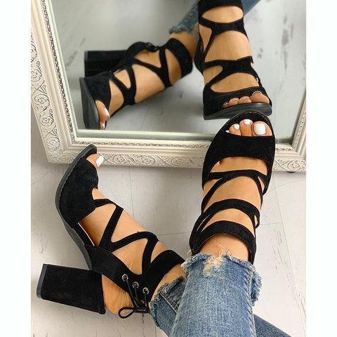 Women Lace-Up Casual Chunky Heel Pu