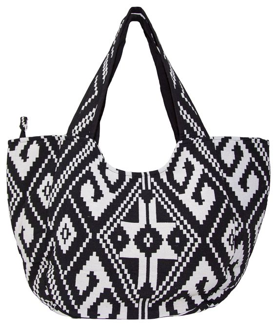 Carolina Sweethearts Woven Black and White Aztec Medium Fashion Tote Bag With Zipper Closure. Long Handles And Wide Fabric Straps For Comfortable Wear on The Shoulder. Inside Zipper Pocket is Great for Phone, Wallet, Keys And Etc. Durable Woven Aztec Print Fabric. Fabric is Soft and Comfortable To Carry. Zip Top Fastening Closure. Dimensions - 19.5 x 6 x 13 inches.