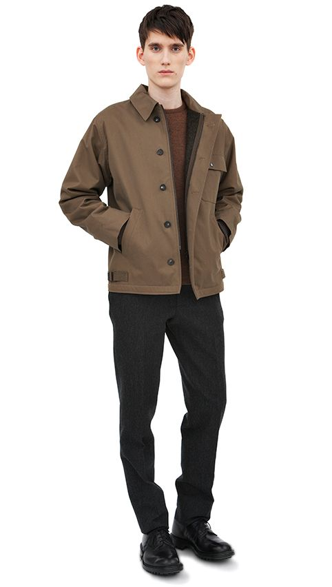 Khaki cotton bomber jacket brown wool crew neck jumper-MHL grey