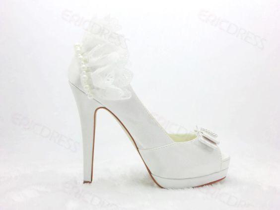 $ 61.99 Sweet White Stiletto Heels Peep Toe Prom/Evening Shoes ~ Eric Dress