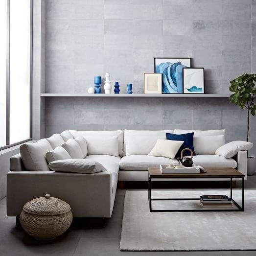 West Elm Harmony Down Filled L Shaped Sectional Oyster Eco