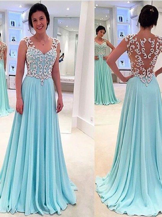Princess A-Line Floor Length Sky Blue Prom Dress with Appliques ...