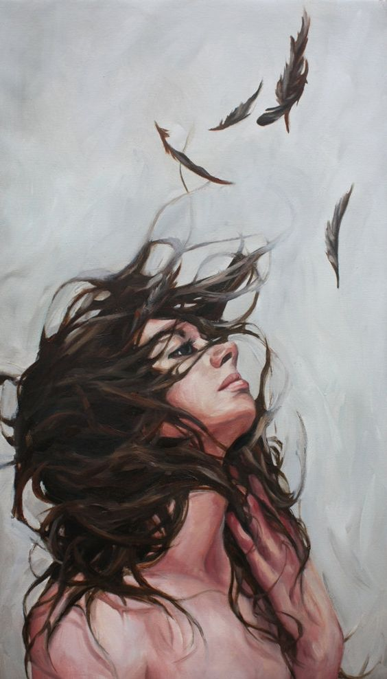 SOLD original Oil Painting feathers wind por AnnieVeitchFineArt