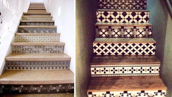 Spanish-Style Tiled Stairs