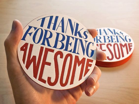 Thanks For Being Awesome [Letterpress Coasters with Red Edge Painting]