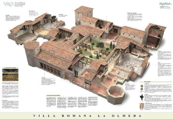 Póster de la villa romana LA OLMEDA. recontrucción virtual, y explicación de la villa.