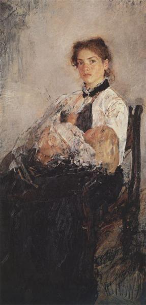 Portrait of Nadezhda Derviz with Her Child, 1888-1889 - Valentin Serov