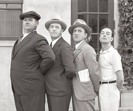 Oliver Hardy, Stan Laurel, Jimmy Durante and Buster Keaton