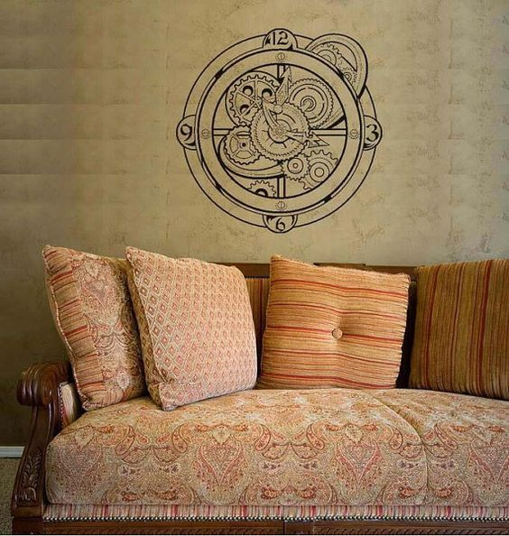 Steampunk Clock Gears Wall Art Decal by threadink142 on Etsy, $29.95