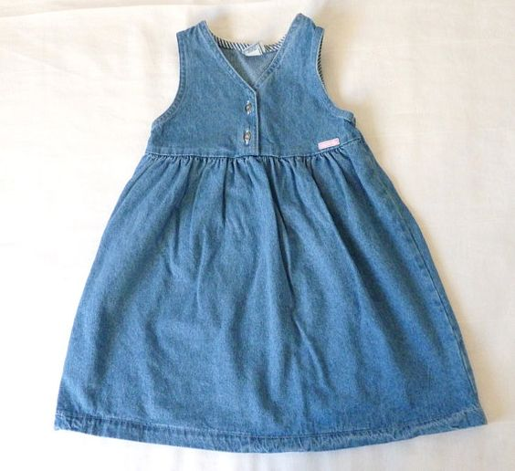 Girls Oshkosh Dress 5T Vintage denim dress by LazerBabyVintage, $11.00