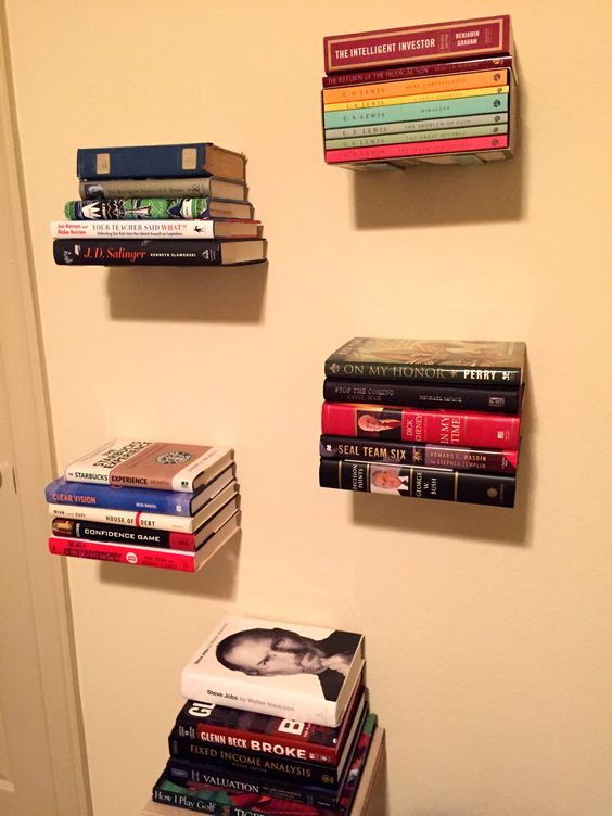DIY Floating Bookshelves...impressive and inexpensive! More interesting than ordinary bookshelves, they take up very little space and cost less than $50.
