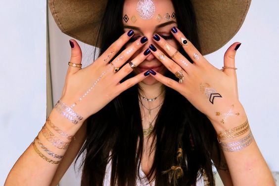 Boho chic gold and silver metallic flash tattoos - festival style