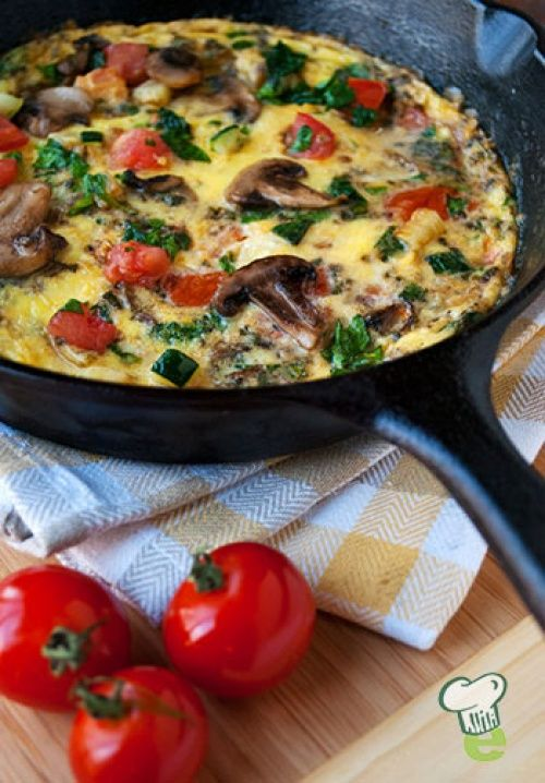 Baked Omelette Recipe Video : Try this healthy omelette for breakfast, lunch or dinner. A delicious way to add vegetables to your meal, this baked omelette is packed with zucchini, mushrooms, tomatoes and baby greens. This quick recipe is gluten free, too.