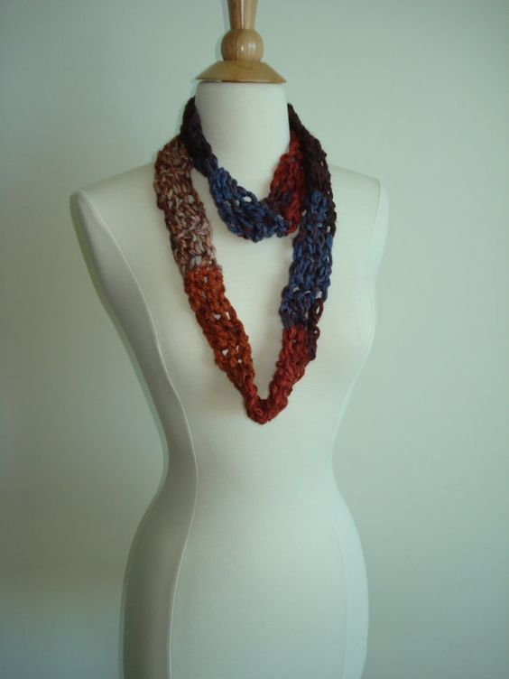 Small Handmade Pumpkin Spice Crochet Cowl in a funky by Belisse, $12.00