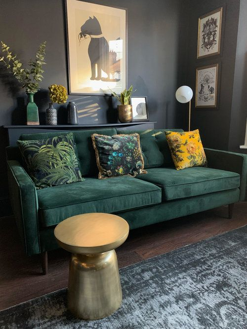 The Girl With The Green Sofablog Homekim S Dark Eclectic Canadian Home Filled With Vintage Finds Moody Living Room Green Living Room Decor Living Room Green