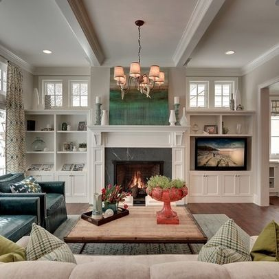 Image Result For Living Room With Fireplace And Tv Living Room Furniture Layout Built In Around Fireplace Family Room Design