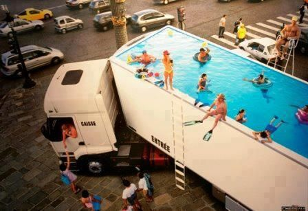 Semi Truck Swimming Pool, France. Don't think this would be allowed in the USA would it?