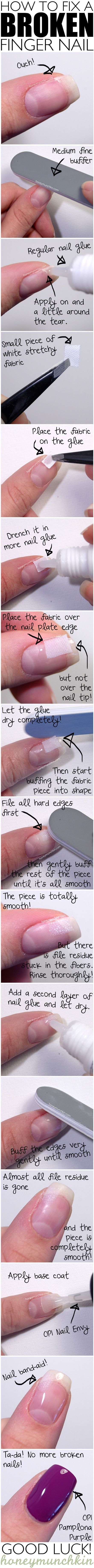 23 Creative Nails Tutorials:  how to fix a broken nail with nail glue, white fabric and clear coat and medium file buffer. Great idea instead of having to cut or pull the tip off.