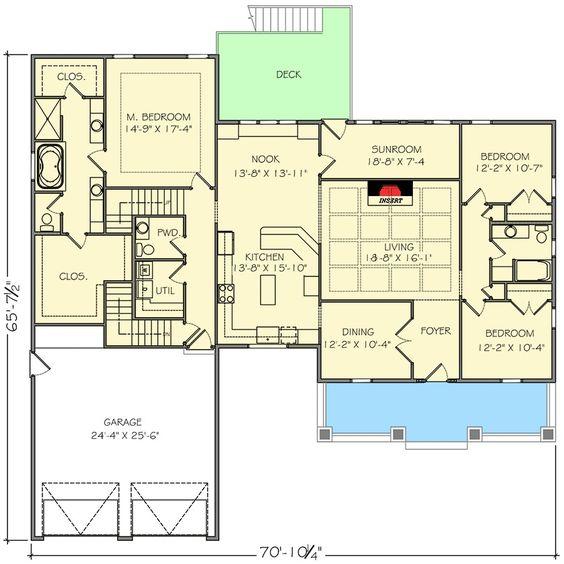 Plan 77619FB 4 Bed Northwest House Plan with Bonus Room
