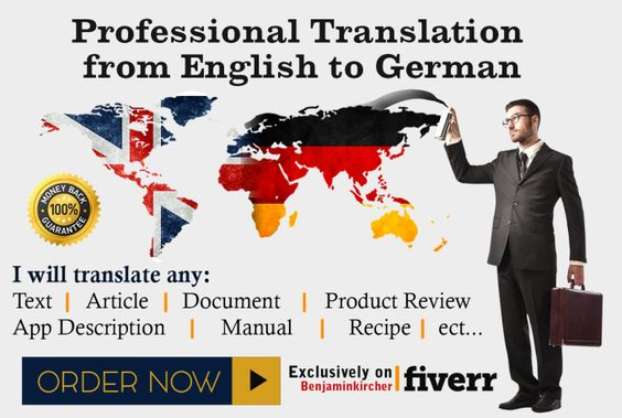 provide a PROFESSIONAL translation from English to German by benjaminkircher