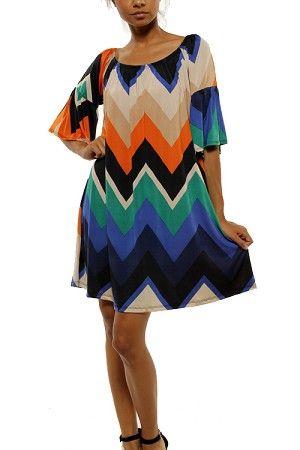 Multi-Color Chevron Bell Sleeve Dress