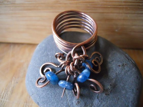Oxidized Copper Dangles Ring Wire WrappedBlue by OurFrontYard, $21.77