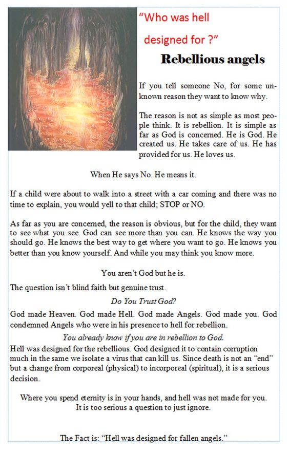 """Christian Books :: """"FACTS: the Chapbook Series"""" :: FACTS: Hell :: Who was Hell designed for?"""