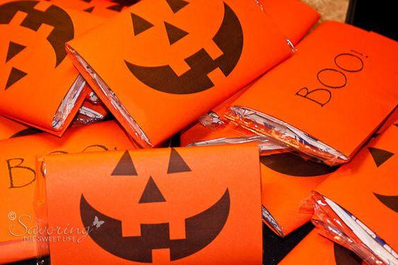 Tasty Jack O Lanterns- using microwave popcorn bags