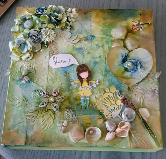 mixed media canvas of 'Gorjuss' girl and hand made flowers.......