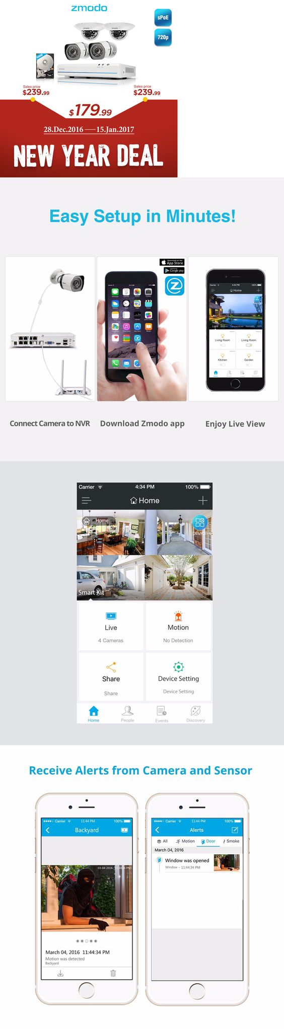security cameras zmodo 8ch nvr 4 1280 720p hd ip network ir home
