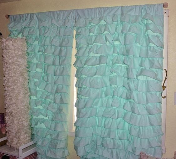 2 AQUA Blue Turquoise Teal WATERFALL Ruffled Curtains Egyptian 100 ...