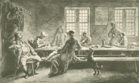 Chodowiecki, Der Abend in Wutzkow (Danziger Skizzen, 1773).
