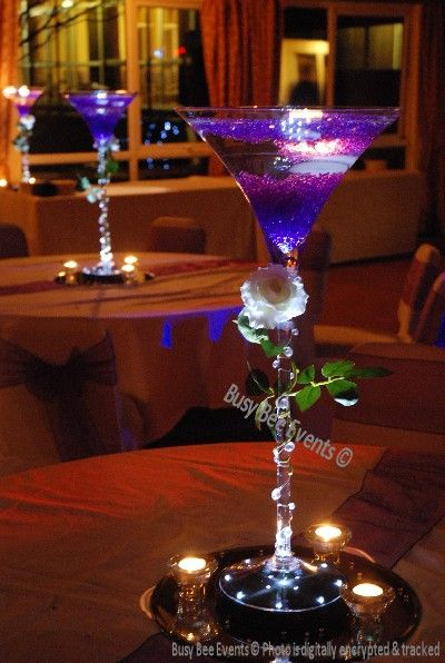 Purple Martini Centerpiece But In Teal For My Wedding