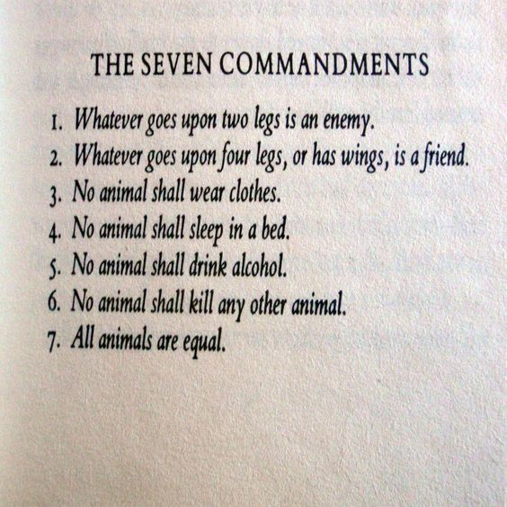 the seven commandments in animal farm Animal farm & oppressed by mr jones before the rebellion of the animals on manor farm napoleon adjusted the seven commandments of animal farm.