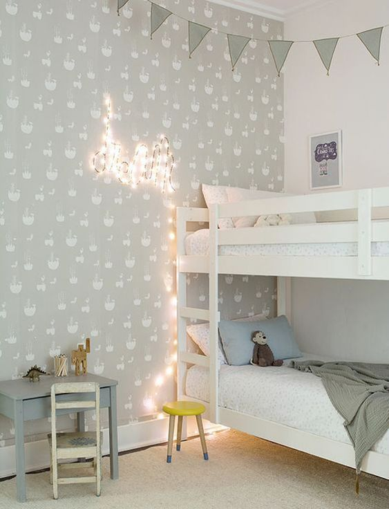 Light green blue and white for a kids room: