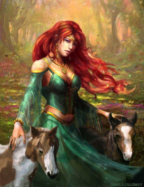 Epona, déesse celte de la fertilité, et des chevaux. L'une des seules divinités celtes à avoir rejoint le Panthéon romain.