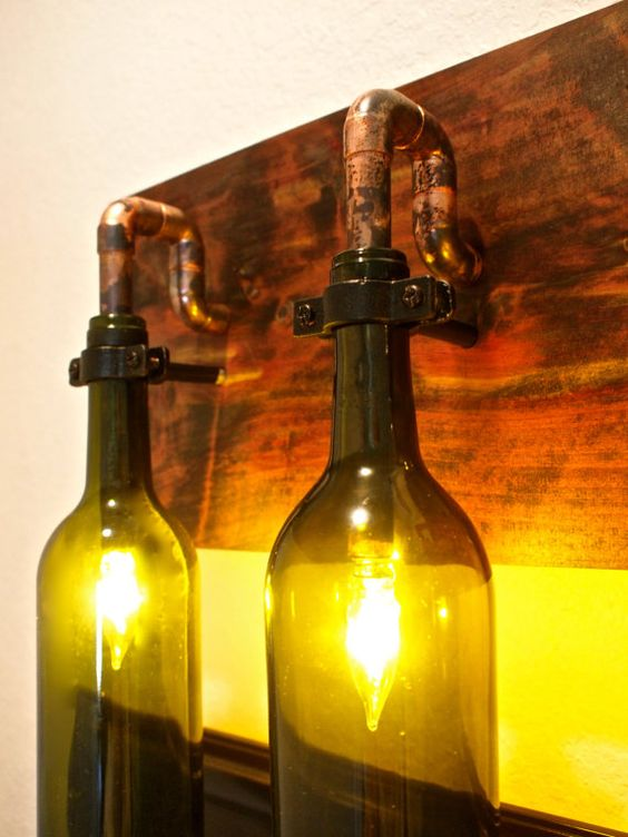 Wine Bottle Light Lamp Industrial Vanity Sconce by BSquaredInc