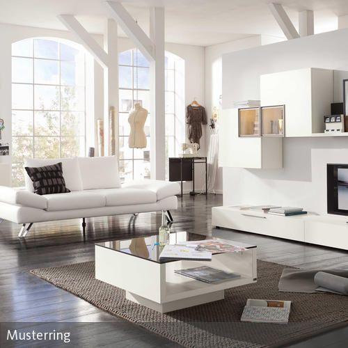 Designer Couch u2013 modernes Sofa fürs Wohnzimmer aus Leder in weiß - wohnzimmer schwarz weis braun