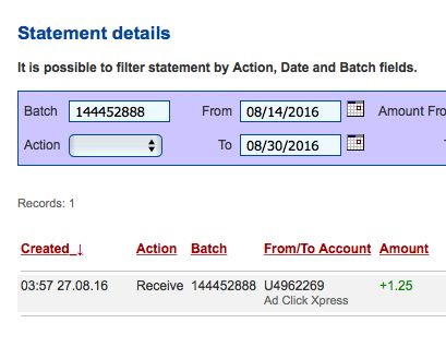 ACX is the MOST POWERFUL & SIMPLEST PROGRAM ONLINE! New 30/70 Rule GUARANTEES... Here is my Withdrawal Proof from AdClickXpress.  If you are a PASSIVE INCOME SEEKER, then AdClickXpress (Ad Click Xpress) is the best ONLINE OPPORTUNITY for you. https://plus.google.com/photos/photo/101793037369154065210/6324139552327049730?icm=false&authkey=CNfInqaBw_TupgE