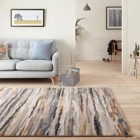 Modena Collection Modern Abstract Tonal Stripe Multi Color Floor Rugs Mod03 Weave Rugaustralia