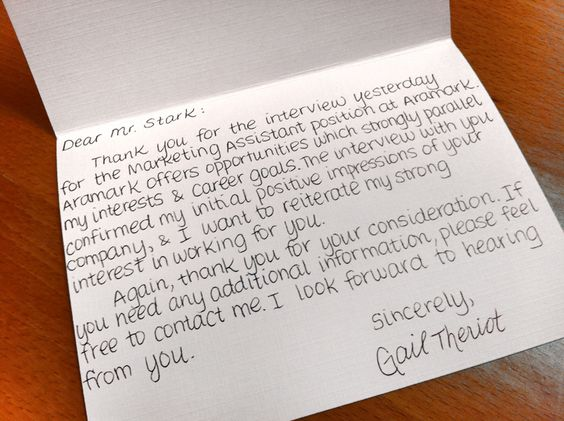 Sample post-interview thank-you note - notice it's handwritten ...
