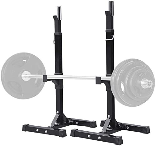 Amazing Offer On Yaheetech Pair Adjustable Squat Rack Standard 44 70 Inch Solid Steel Squat Stands Barbell Free Press Bench Home Gym Portable Dumbbell Racks St In 2020 Squat Rack Dumbbell Rack Squat Stands