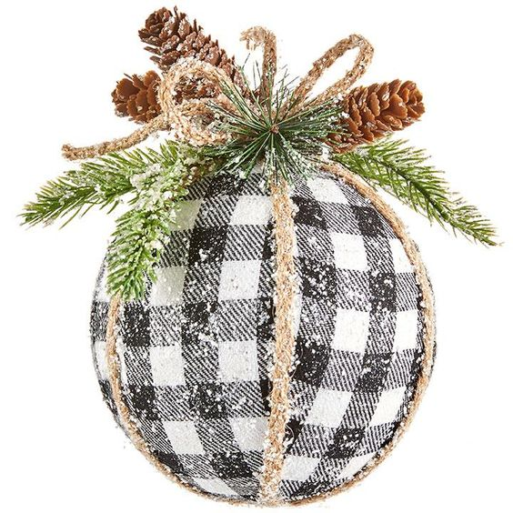 Black and White Checked Ball Ornament – Merry Manor