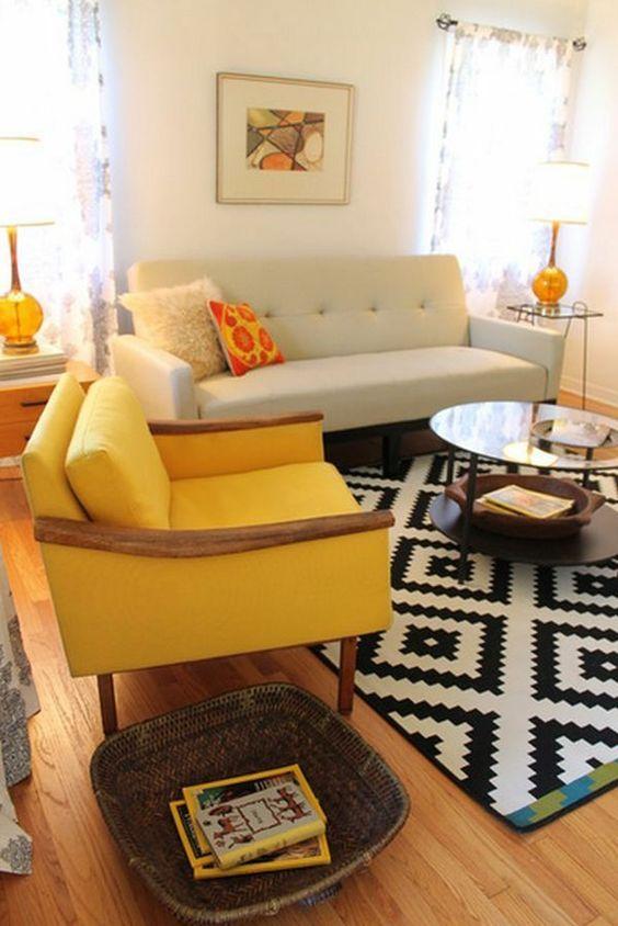 einrichtungsideen gelb sessel wohnzimmer möbel modern trendy ...