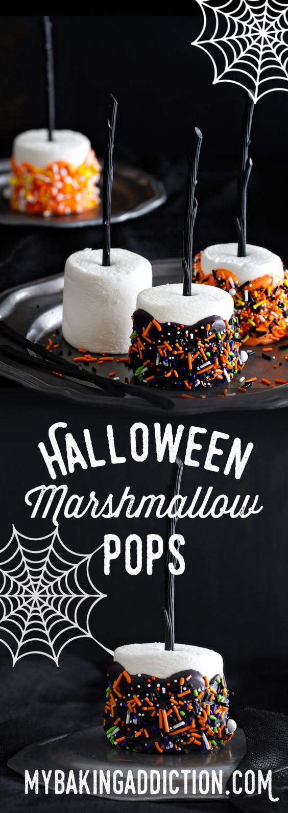 Halloween Marshmallow Pops are the handheld treat you want at your Halloween party. They're simple and adorable! from @bakingaddiction: