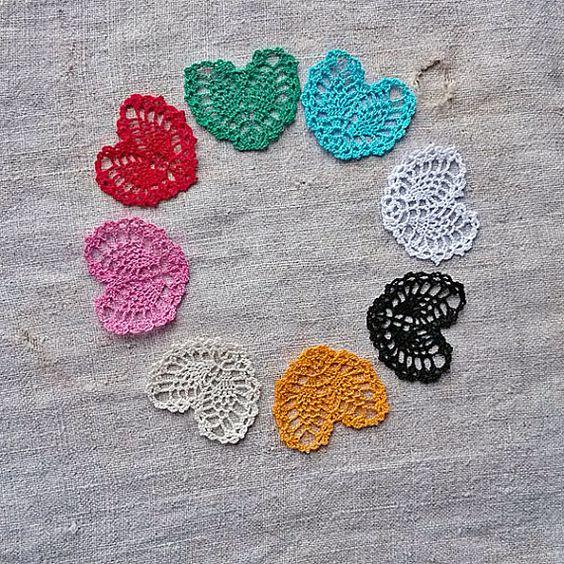 Handmade crochet heart Applique shapes hearts Hearts by MyWealth